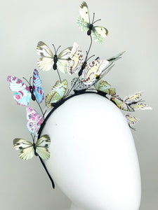 Shades of Green and Blue Butterfly Fascinator, butterfly hat, Tea Party Hat, Church Hat, Derby Hat, Fancy Hat, Pink Hat, Tea Party