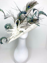 Load image into Gallery viewer, Ivory Peacock Derby Hat