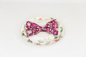 Merlot Pink and White Rose Bow Tie