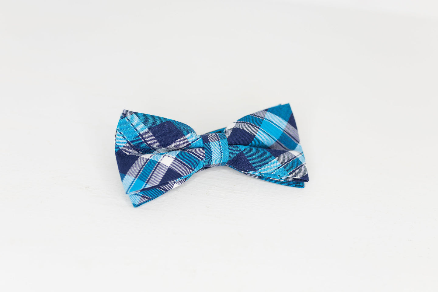 Navy Blue and Turquoise Plaid Bow Tie