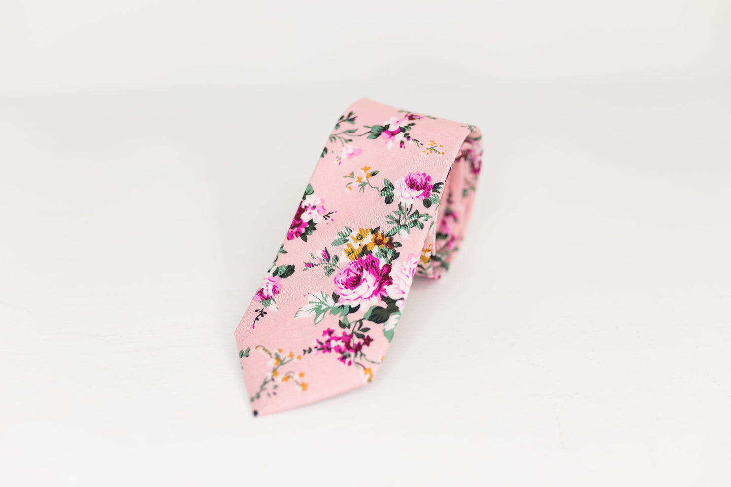 Pastel Pink and Fuchsia Floral Neck Tie