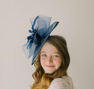 Girls Navy Mesh Fascinator on headband for ages 3 and older, Girls Tea Party Hat, Kentucky Derby Hat, Fancy Hat, Wedding hat, British Hat