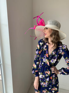 Ivory Derby Hat with Fuchsia sinamay bow  Church hat