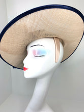 Load image into Gallery viewer, Navy and tan Sinamay Derby Hat