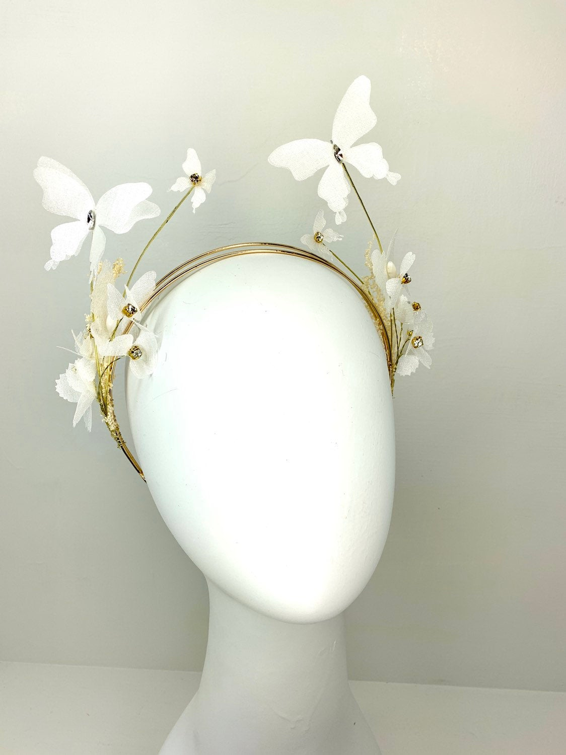 White & Gold Butterfly Fascinator, butterfly hat, Tea Party Hat, Church Hat, Derby Hat, Fancy Hat, Pink Hat, Tea Party Hat, wedding hat
