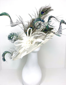 Ivory Peacock Derby Hat