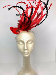 Cardinal Fascinator, Tea Party Hat, Church Hat, Kentucky Derby Hat, bird hat, Red Hat, Tea Party Hat, wedding hat, womens hat