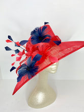 Load image into Gallery viewer, Red and Navy Derby Hat