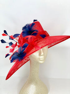 Red and Navy Derby Hat