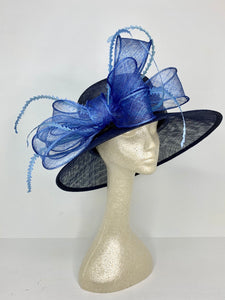 Navy Blue and Light Blue Kentucky Derby Hat