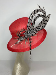 Red Black and White Derby Hat