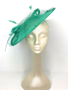 Jade Green Fascinator Hatinator Derby Hat, Womens Tea Party Hat, Church Hat, Derby Hat, Fancy Hat, Royal Hat, Tea Party Hat, weddin