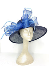 Load image into Gallery viewer, Navy Blue and Light Blue Kentucky Derby Hat
