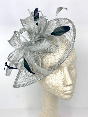 The Kenni Fascinator, Grey and Black Fascinator, Black Hat, Womens Tea Party Hat, Church Hat, Derby Hat, Fancy Hat, Tea Party Hat, wedding h