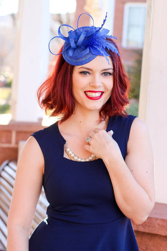 Royal Blue Fascinator, Tea Party Hat, Church Hat, Kentucky Derby Hat, British Hat, Wedding hat, Blue Fascinator, womens hat, Royal Hat