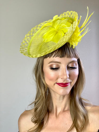 Couture Yellow Fascinator, Garden Party Hat, Derby Hat, Wedding Hat,  Women's Tea Party Hat, Fancy Hat, Cocktail Hat, canary yellow