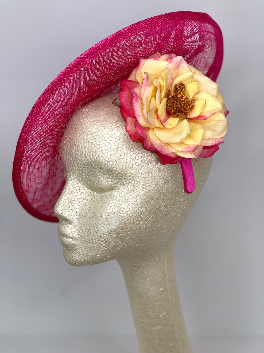 THH036 Pink Fascinator with Yellow Rose, Pink Derby Hat, Womens Tea Party Hat, Church Hat, Derby Hat, Fancy Hat, Royal Hat, Tea Party Hat,
