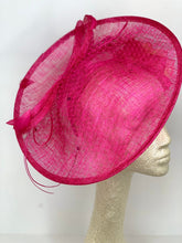 Load image into Gallery viewer, THH036 Pink Fascinator with Yellow Rose, Pink Derby Hat, Womens Tea Party Hat, Church Hat, Derby Hat, Fancy Hat, Royal Hat, Tea Party Hat,