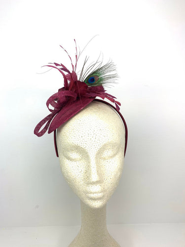 The Haleigh Maroon Fascinator with peacock feather, Women's Tea Party Hat, Church Hat, Derby Hat, Fancy Hat, maroon  Hat, Tea Party Hat, wed