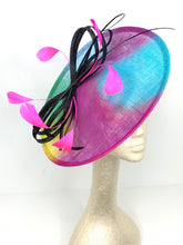 Load image into Gallery viewer, Neon Graffiti Fascinator Derby Hat, Womens Tea Party Hat, Church Hat, Derby Hat, Fancy Hat, Tea Party Hat, wedding hat