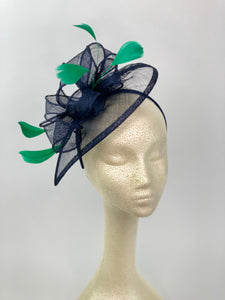 The Kenni Navy Blue Fascinator with green feathers