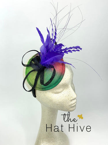 Royal Purple graffiti Fascinator, Tea Party Hat, Church Hat, Kentucky Derby Hat, Fancy Hat, British Hat, Wedding Hat Plum Purple Fascinator