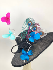 Black Derby Hat with Metallic peacock feathers