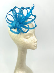 Turquoise Fascinator, Tea Party Hat, Church Hat, Kentucky Derby Hat, Fancy Hat, British, Wedding Hat, Fascinator, womens hat