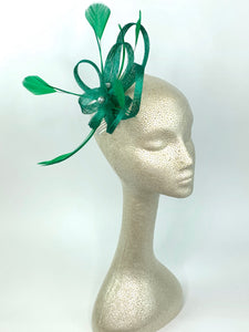 Green Fascinator, Green Fascinator with lime green accent feathers  Tea Party Hat, St. Pattys Day, Derby Hat, Fancy Hat, Kelly Gr