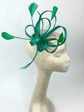 Load image into Gallery viewer, Green Fascinator, Green Fascinator with lime green accent feathers  Tea Party Hat, St. Pattys Day, Derby Hat, Fancy Hat, Kelly Gr