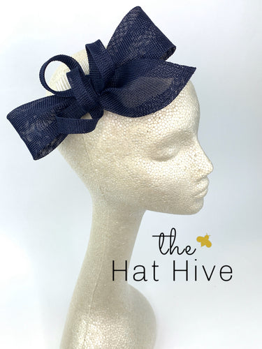 Navy Blue Fascinator, Womens Tea Party Hat, Church Hat, Derby Hat, Fancy Hat, Navy Blue Hat, Tea Party Hat, wedding hat