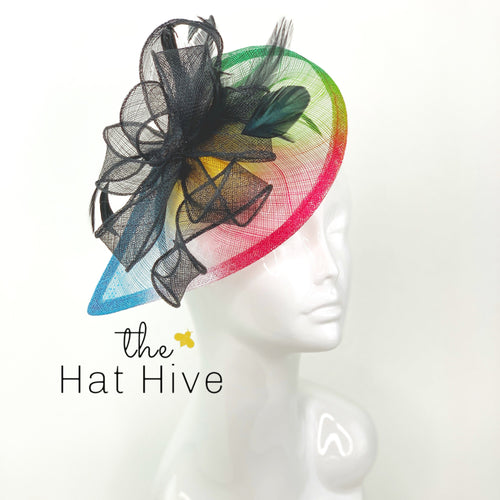 Multi color Graffiti Fascinator, Derby Hat, Church Hat, Kentucky Derby Hat, Fancy Hat, British Hat, 90's Hat, Neon Hat