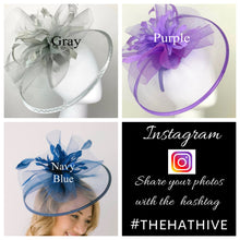 Load image into Gallery viewer, Lilac Fascinator, Derby Hat, Tea Party Hat, Church Hat, Kentucky Derby, British Hat, Wedding Hat Plum Purple, The Celeste, The Hat Hive