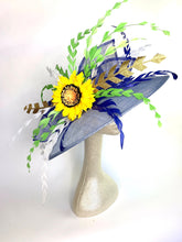 Load image into Gallery viewer, Light Blue Sunflower Kentucky Derby Hat