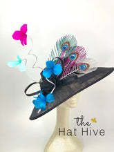 Load image into Gallery viewer, Black Derby Hat with Metallic peacock feathers