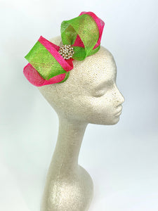 Pink & Green Fascinator, Pink and Green Bow, Womens Tea Party Fascinator, Church Hat, Derby Hat, Fancy Hat Mini Fascinator, wedding hat