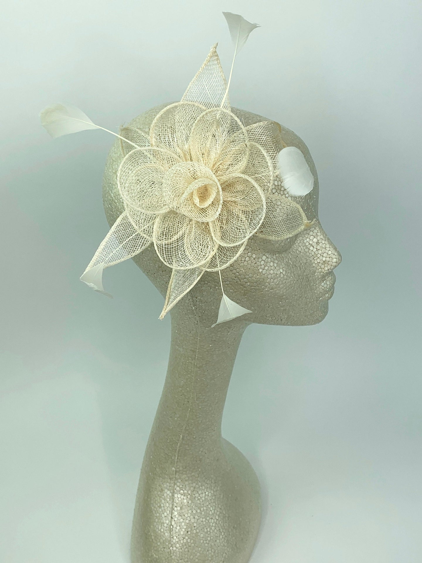 IvoryFascinator, Tea Party Hat, Bridal wedding hat, Derby Hat, Formal Hair Piece, Woman's Hair Clip, British Fancy Hat,
