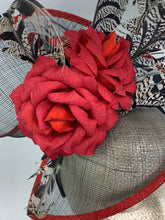 Load image into Gallery viewer, Red Rose and feather fascinator / Kentucky derby hat / Tea Party Hat, Church Hat, Kentucky Derby Hat, Fancy Hat, Red Hat, T