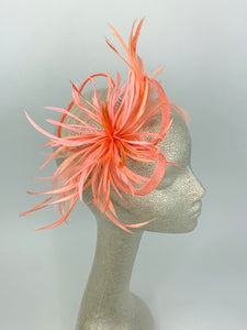 Coral pink Fascinator, Tea Party Hat, Bridal wedding hat, Derby Hat, Formal Hair Piece, Woman's Hair Clip, British Fancy Hat,