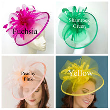 Load image into Gallery viewer, Yellow Fascinator, The Celeste, Derby Hat, Wedding Hat,  Women's Tea Party Hat, Fancy Hat, Champagne Gold  Hat, Cocktail Hat, wedding hat