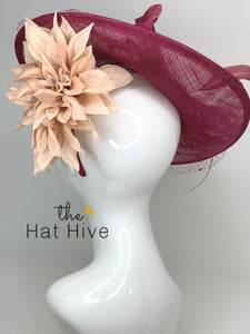 Merlot and Blush Fascinator Hatinator, KentuckyDerby Hat, Womens Tea Party Hat, Church Hat, Derby Hat, Fancy Hat, Royal Hat, Kate Middleton