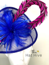 Load image into Gallery viewer, Royal Blue & Pink Fascinator, Womens Tea Party Hat, Church Hat, Derby Hat, Fancy Hat, Bachelorette Hat, Tea Party Hat, wedding hat