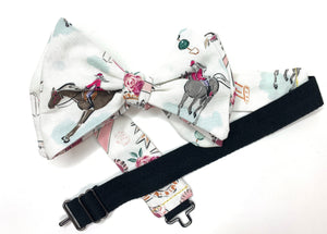 Horse Jockey Derby Theme Mens Reversible Bow Tie