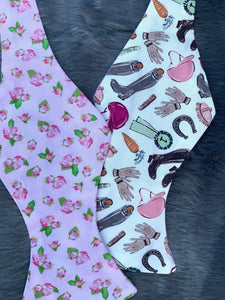 Pink Rose Derby Theme Mens Reversible Bow Tie