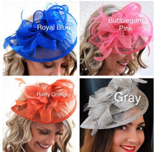 Load image into Gallery viewer, The Kenni Royal Blue Fascinator, Tea Party Hat, Church Hat, Derby Hat, Fancy Hat, High Tea Hat, wedding hat, Blue Fascinator, womens hat