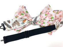 Load image into Gallery viewer, Pink Rose Derby Theme Mens Reversible Bow Tie