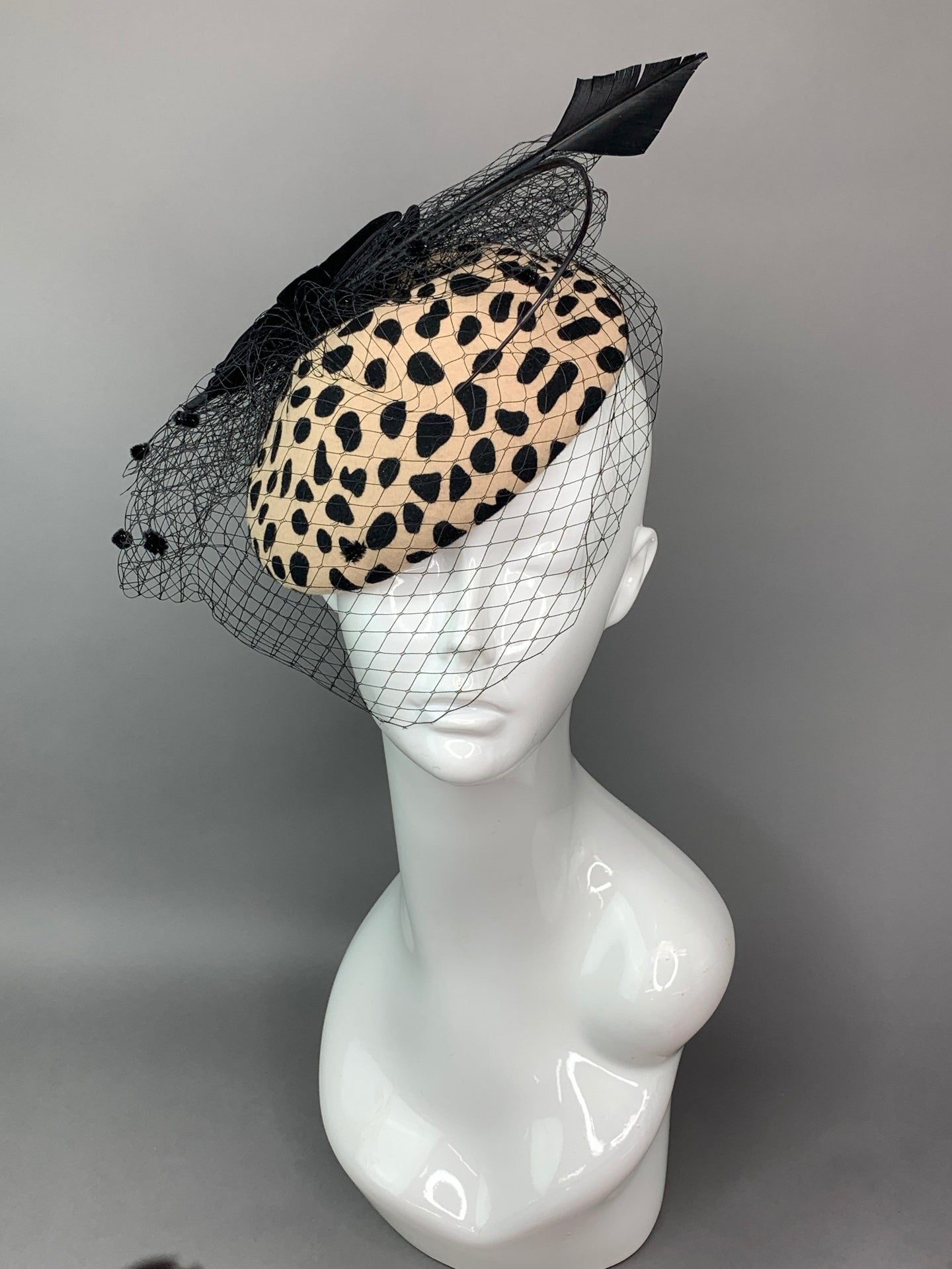 Cheetah Wool Fascinator, Women's Tea Party Hat, Church Hat, Derby Hat, Fancy Hat, Pink Hat, Tea Party Hat, wedding hat