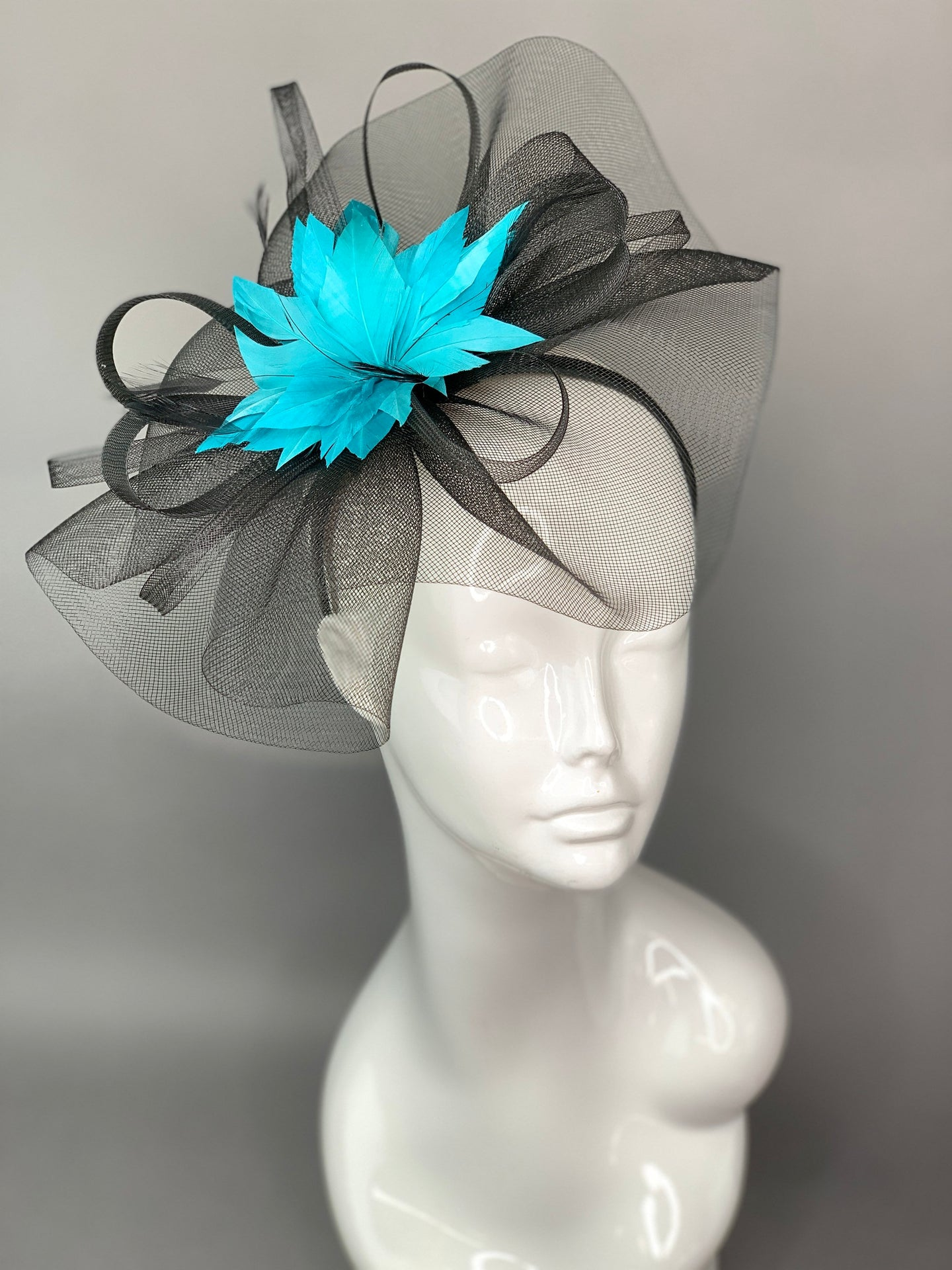 Mesh Black & Turquoise Fascinator, Black Fascinator, Black Hat, Womens Tea Party Hat, Church Hat, Derby Hat, Tea Party Hat, wedding hat