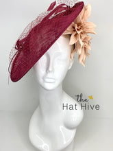 Load image into Gallery viewer, Merlot and Blush Fascinator Hatinator, KentuckyDerby Hat, Womens Tea Party Hat, Church Hat, Derby Hat, Fancy Hat, Royal Hat, Kate Middleton