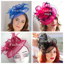 Load image into Gallery viewer, Black Fascinator on headband - light and easy to wear Women's Hat with Veil, Kentucky Derby Hat, wedding hat, British Hat